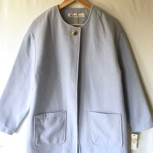 Kenneth Cole Sky Blue Felt Coat Spring Long Medium